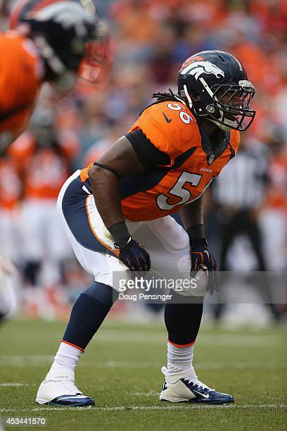 Outside linebacker Nate Irving of the Denver Broncos plays defense against theSeattle Seahawks at Sports Authority Field at Mile High on August 7...