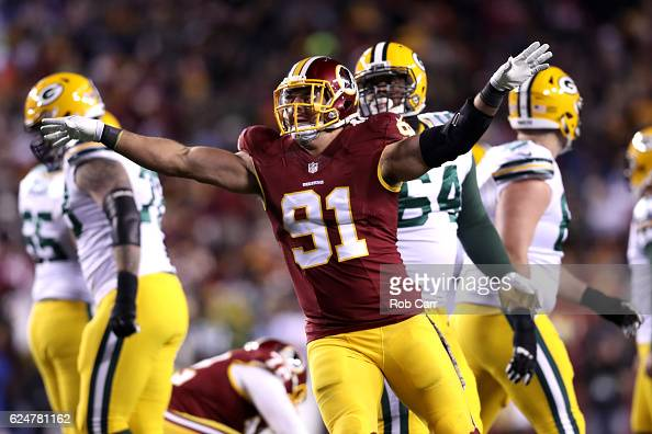Outside linebacker Ryan Kerrigan of the Washington Redskins celebrates a missed field goal by the Green Bay Packers in the third quarter at...