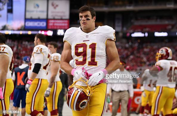 Outside linebacker Ryan Kerrigan of the Washington Redskins on the sidelines during the NFL game against the Arizona Cardinals at the University of...