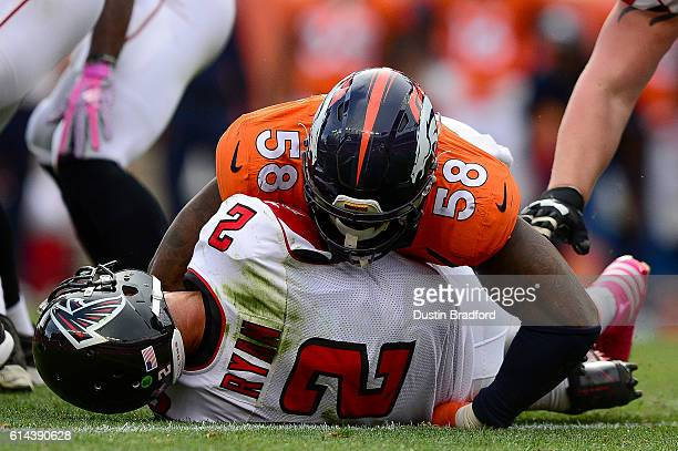 Outside linebacker Von Miller of the Denver Broncos sacks quarterback Matt Ryan of the Atlanta Falcons in the third quarter of the game at Sports...