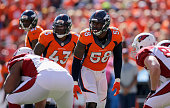 Outside linebacker Von Miller strong safety TJ Ward and cornerback Aqib Talib of the Denver Broncos lines up against the Arizona Cardinals at Sports...