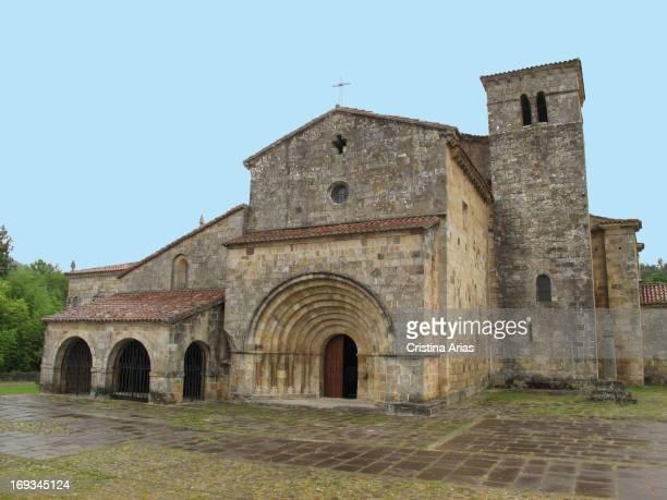 Outside of the collegiate church Romanesque of Santa Cruz de Castaneda Cantabria Spain
