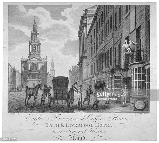 Outside the Eagle Tavern and Coffee House Bath Liverpool Hotel Westminster London c1800 View showing the Church of St Mary le Strand to the left and...