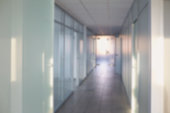 Outside the focus of  hospital corridor office background.