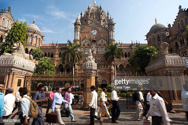 Outside the Gothic Revival styled Chhatrapati Shivaji Terminus formerly known as Victoria Terminus a UNESCO World Heritage Site and historic railway...