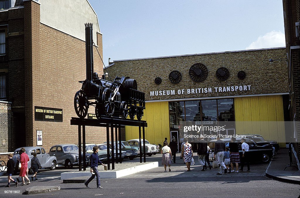Outside the Museum of British Transport Clapham 1966 Rocket the pioneering locomotive designed by Robert Stephenson is on the plinth outside This...