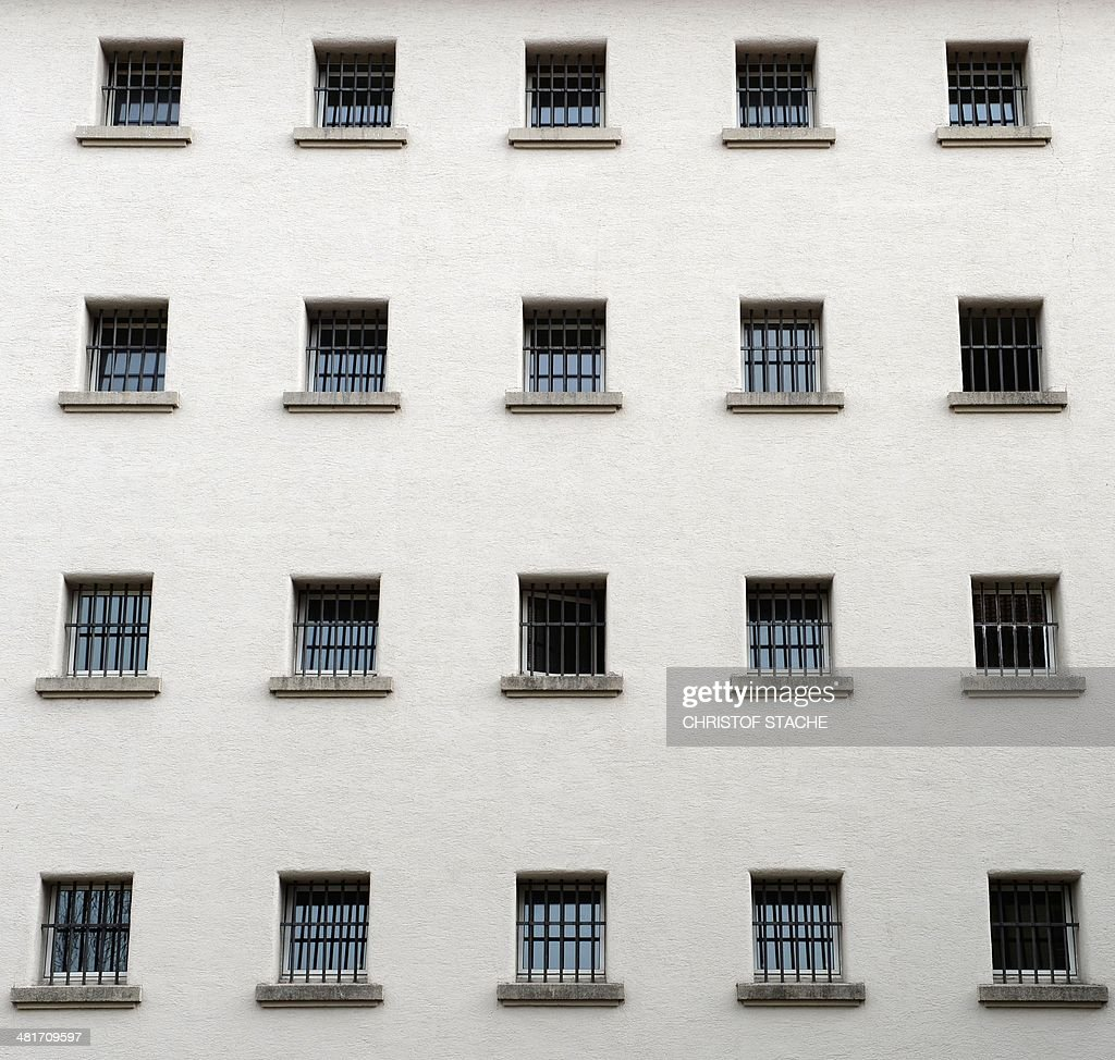 Outside view of prison cell windows of the Landsberg prison in Landsberg southern Germany is pictured on March 31 2014 The former FC Bayern Munich...