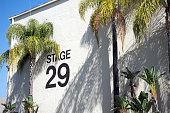 Exterior of stage 29 movie studio with palm trees