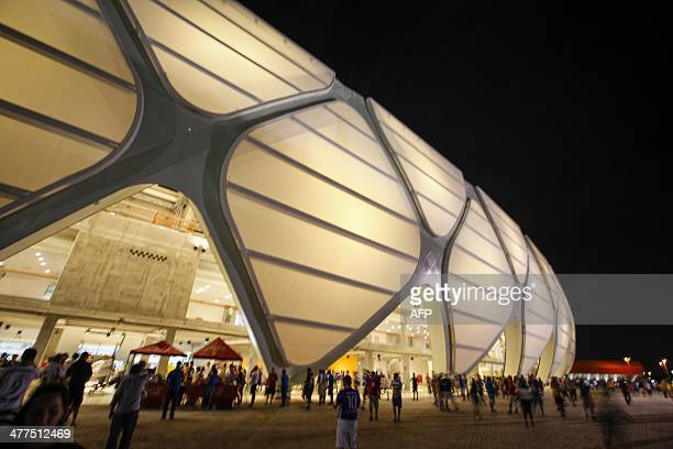 Outside view of the Arena Amazonia during its inauguration match between Nacional and Remo in Manaus Amazonas on March 9 2014 The Arena Amazonia is...