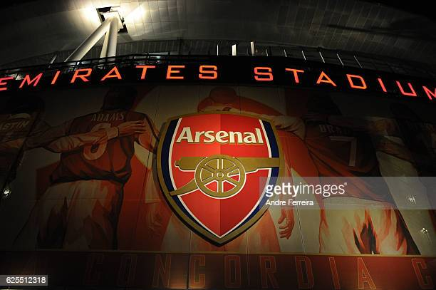 Outside view of the Emirates Stadium during the Champions League match between Arsenal and Paris Saint Germain at Emirates Stadium on November 23...