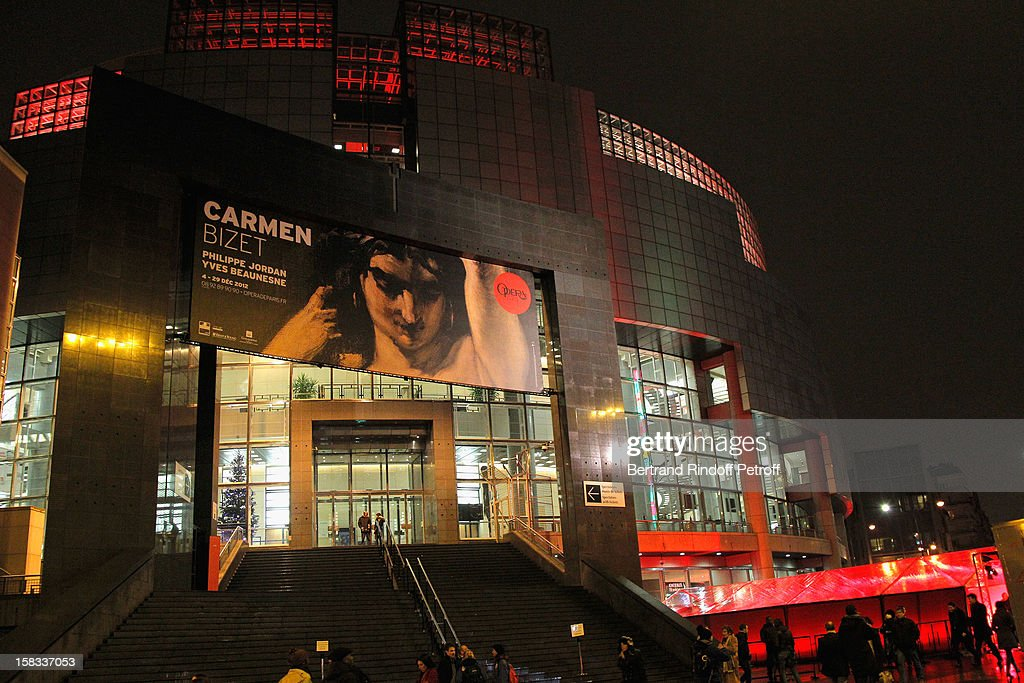 Outside view of the Paris Opera House of Bastille prior to the Arop Gala Event for Carmen New Production Launch at Opera Bastille on December 13, 2012 in Paris, France.