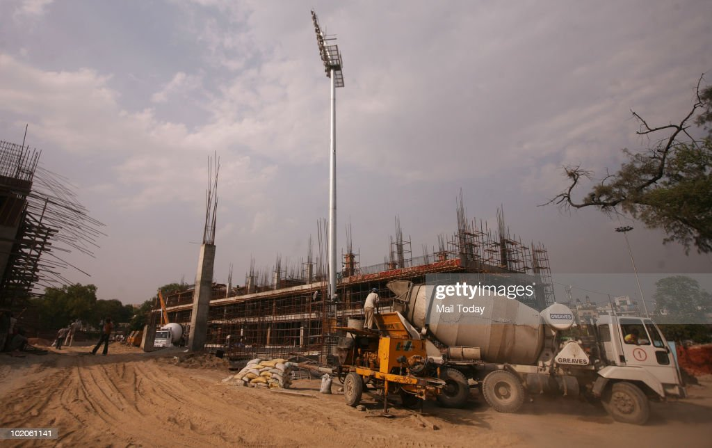 Outside view of the Shivaji Stadium where construction work is going in full swing ahead of the Commonwealth Games in New Delhi.