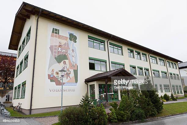 Outside view of the Volksschule on May 14 2014 in Bad Mitterndorf Austria Bad Mitterndorf is the hometown of Conchita Wurst who won the Eurovision...