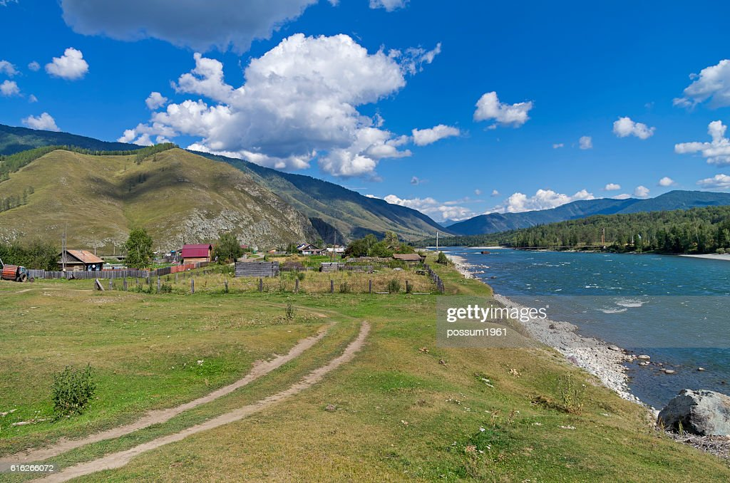 Outskirts of a small village. Altai,  Russia. : Stock Photo