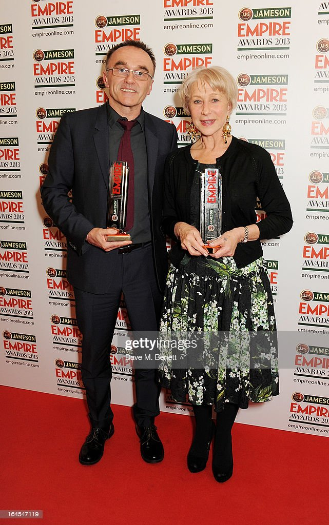 Outstanding Contribution winner <a gi-track='captionPersonalityLinkClicked' href=/galleries/search?phrase=Danny+Boyle&family=editorial&specificpeople=1678742 ng-click='$event.stopPropagation()'>Danny Boyle</a> (L) and Empire Legend winner Dame <a gi-track='captionPersonalityLinkClicked' href=/galleries/search?phrase=Helen+Mirren&family=editorial&specificpeople=201576 ng-click='$event.stopPropagation()'>Helen Mirren</a> pose in the press room at the Jameson Empire Awards 2013 at The Grosvenor House Hotel on March 24, 2013 in London, England.