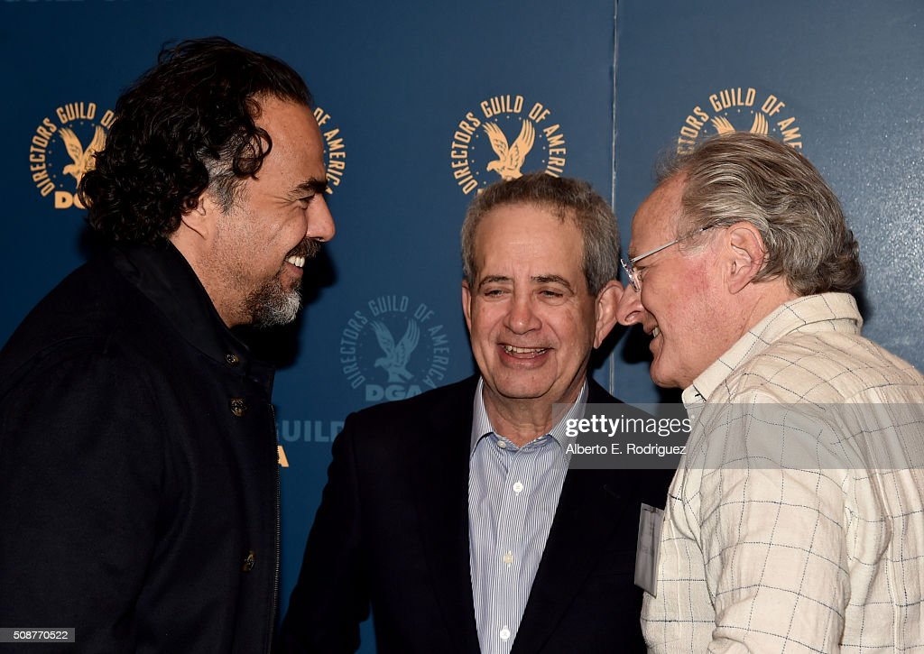 Outstanding Directorial Achievement in Feature Film nominee Alejandro G. Inarritu, DGA National Executive Director Jay D. Roth and director <a gi-track='captionPersonalityLinkClicked' href=/galleries/search?phrase=Michael+Mann&family=editorial&specificpeople=203157 ng-click='$event.stopPropagation()'>Michael Mann</a> attend the 68th Annual Directors Guild Of America Awards Feature Film Symposium at Directors Guild of America on February 6, 2016 in Los Angeles, California.