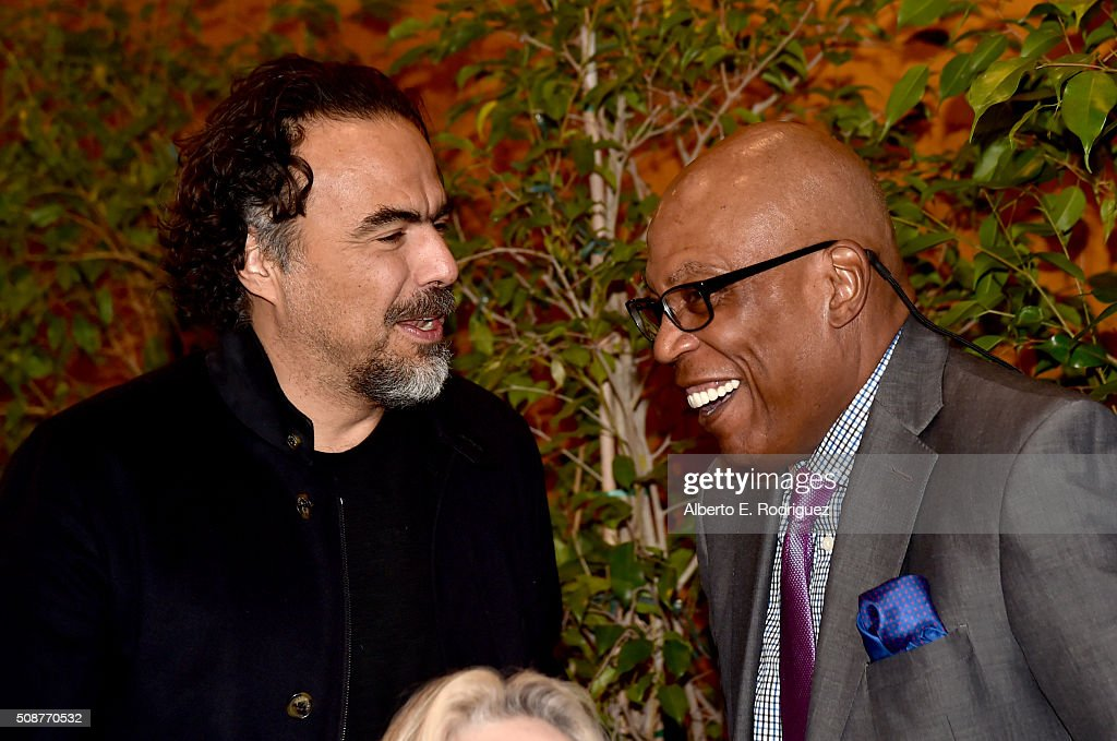 Outstanding Directorial Achievement in Feature Film nominee Alejandro G. Inarritu (L) and DGA President <a gi-track='captionPersonalityLinkClicked' href=/galleries/search?phrase=Paris+Barclay&family=editorial&specificpeople=792316 ng-click='$event.stopPropagation()'>Paris Barclay</a> attend the 68th Annual Directors Guild Of America Awards Feature Film Symposium at Directors Guild of America on February 6, 2016 in Los Angeles, California.