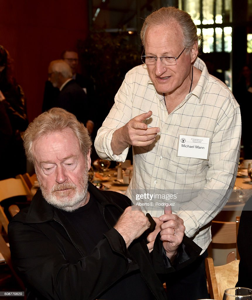 Outstanding Directorial Achievement in Feature Film nominee <a gi-track='captionPersonalityLinkClicked' href=/galleries/search?phrase=Ridley+Scott&family=editorial&specificpeople=215470 ng-click='$event.stopPropagation()'>Ridley Scott</a> (L) and director <a gi-track='captionPersonalityLinkClicked' href=/galleries/search?phrase=Michael+Mann&family=editorial&specificpeople=203157 ng-click='$event.stopPropagation()'>Michael Mann</a> attend the 68th Annual Directors Guild Of America Awards Feature Film Symposium at Directors Guild of America on February 6, 2016 in Los Angeles, California.