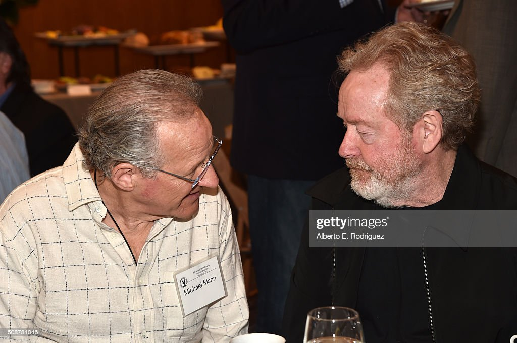 Outstanding Directorial Achievement in Feature Film nominee <a gi-track='captionPersonalityLinkClicked' href=/galleries/search?phrase=Ridley+Scott&family=editorial&specificpeople=215470 ng-click='$event.stopPropagation()'>Ridley Scott</a> (R) and director <a gi-track='captionPersonalityLinkClicked' href=/galleries/search?phrase=Michael+Mann&family=editorial&specificpeople=203157 ng-click='$event.stopPropagation()'>Michael Mann</a> attend the 68th Annual Directors Guild Of America Awards Feature Film Symposium at Directors Guild of America on February 6, 2016 in Los Angeles, California.