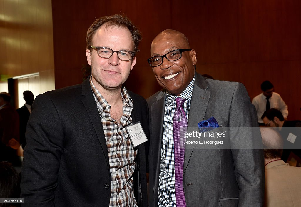 Outstanding Directorial Achievement in Feature Film nominee Tom McCarthy (L) and DGA President <a gi-track='captionPersonalityLinkClicked' href=/galleries/search?phrase=Paris+Barclay&family=editorial&specificpeople=792316 ng-click='$event.stopPropagation()'>Paris Barclay</a> attend the 68th Annual Directors Guild Of America Awards Feature Film Symposium at Directors Guild of America on February 6, 2016 in Los Angeles, California.