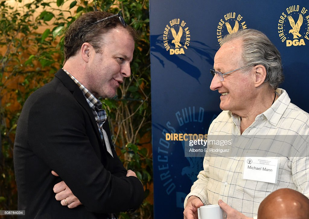 Outstanding Directorial Achievement in Feature Film nominee Tom McCarthy (L) and director <a gi-track='captionPersonalityLinkClicked' href=/galleries/search?phrase=Michael+Mann&family=editorial&specificpeople=203157 ng-click='$event.stopPropagation()'>Michael Mann</a> attend the 68th Annual Directors Guild Of America Awards Feature Film Symposium at Directors Guild of America on February 6, 2016 in Los Angeles, California.