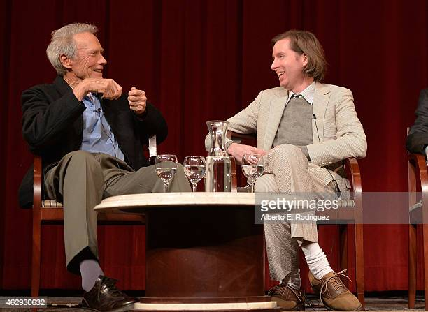 Outstanding Directorial Achievement in Feature Film nominees Clint Eastwood and Wes Anderson speak onstage at the 67th Annual Directors Guild Of...