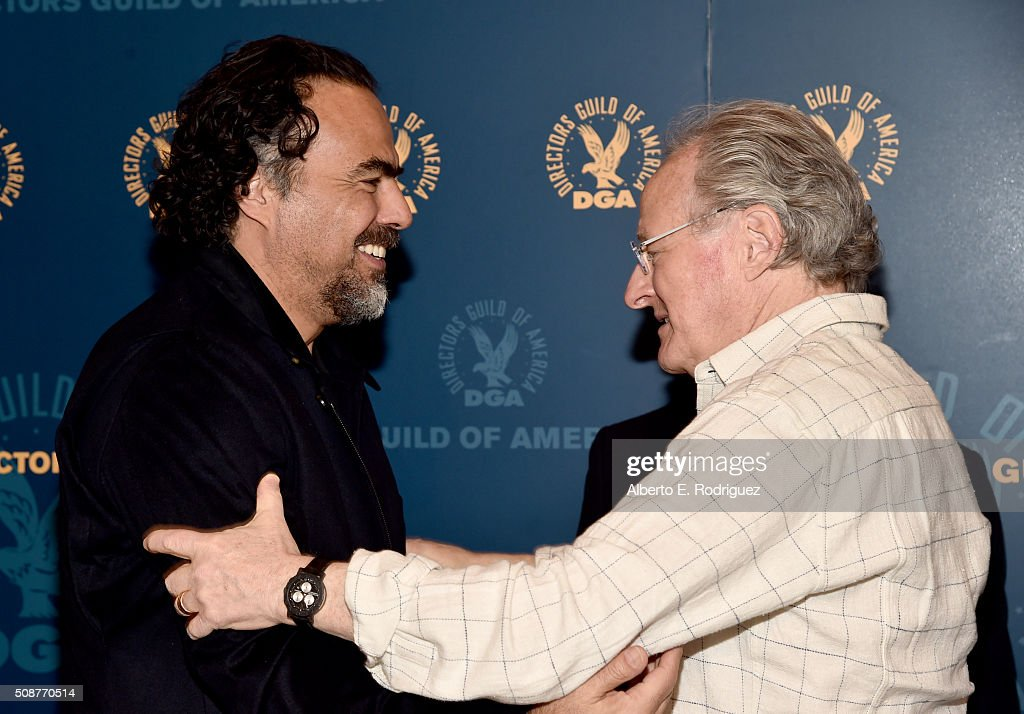 Outstanding Directorial Achievement in Feature Film nominees Alejandro G. Inarritu (L) and director <a gi-track='captionPersonalityLinkClicked' href=/galleries/search?phrase=Michael+Mann&family=editorial&specificpeople=203157 ng-click='$event.stopPropagation()'>Michael Mann</a> attend the 68th Annual Directors Guild Of America Awards Feature Film Symposium at Directors Guild of America on February 6, 2016 in Los Angeles, California.
