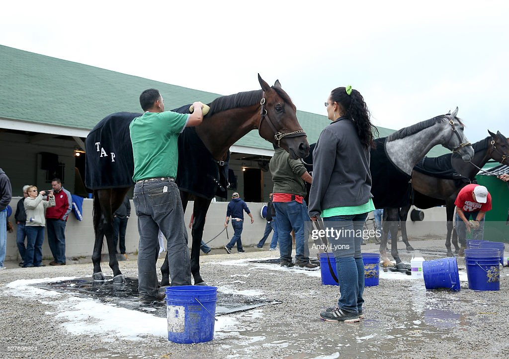 Outwork is washed in the barn area during the morning training for the 2016 Kentucky Derby at Churchill Downs on May 03, 2016 in Louisville, Kentucky.