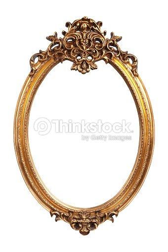 Cornice ovale oro vintage isolato su sfondo bianco foto - Specchio ovale vintage ...