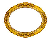 Oval Golden horizontal frame isolated on white background. Clipping paths included.