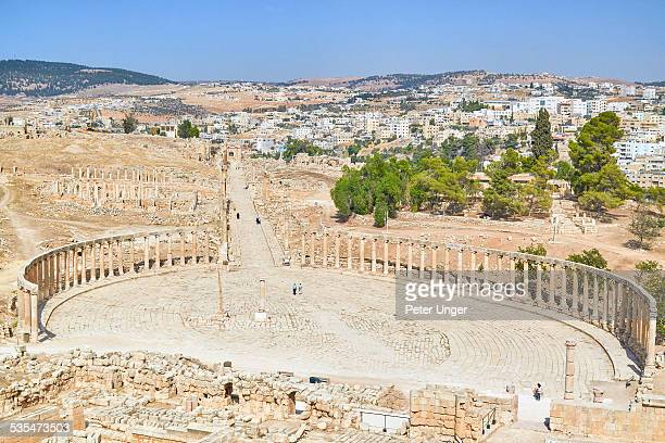 Oval Plaza and the Cardo of the roman city, Jerash