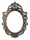 Bronze oval vintage frame isolated