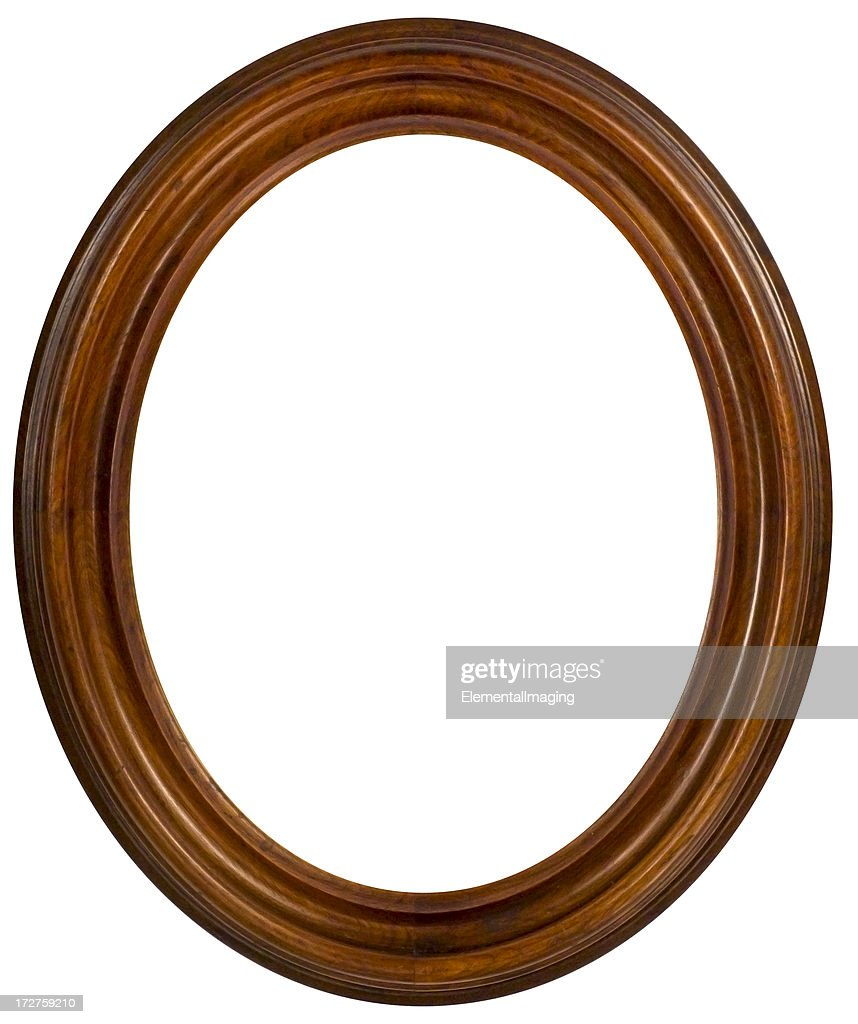Oval Walnut Picture Frame.  Isolated with Clipping Path