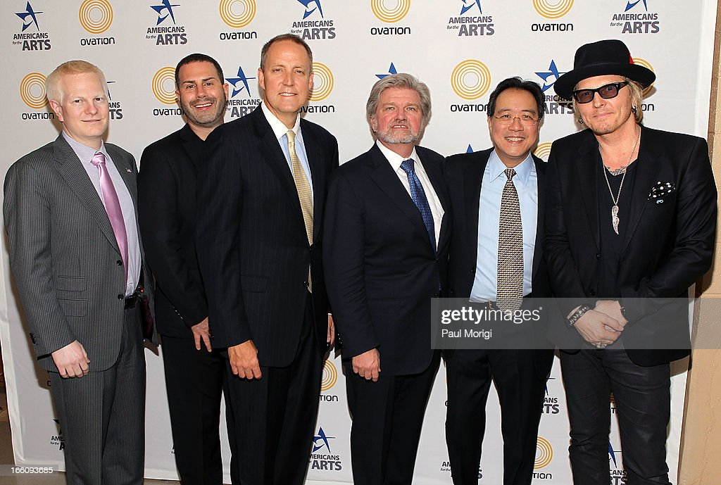 Ovation COO Chad Gutstein, Ovation Chief Creative Officer Rob Weiss, Ovation CEO Charles Segars, AFTA President and CEO Robert Lynch, acclaimed artist and arts educator <a gi-track='captionPersonalityLinkClicked' href=/galleries/search?phrase=Yo-Yo+Ma&family=editorial&specificpeople=235395 ng-click='$event.stopPropagation()'>Yo-Yo Ma</a> and musician <a gi-track='captionPersonalityLinkClicked' href=/galleries/search?phrase=Matt+Sorum&family=editorial&specificpeople=213836 ng-click='$event.stopPropagation()'>Matt Sorum</a> pose for a photo backstage at The Nancy Hanks Lecture on Art and Public Policy sponsored by Ovation at John F. Kennedy Center for the Performing Arts on April 8, 2013 in Washington, DC.
