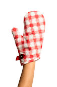 Oven protective mitten with woman hand isolated on white background