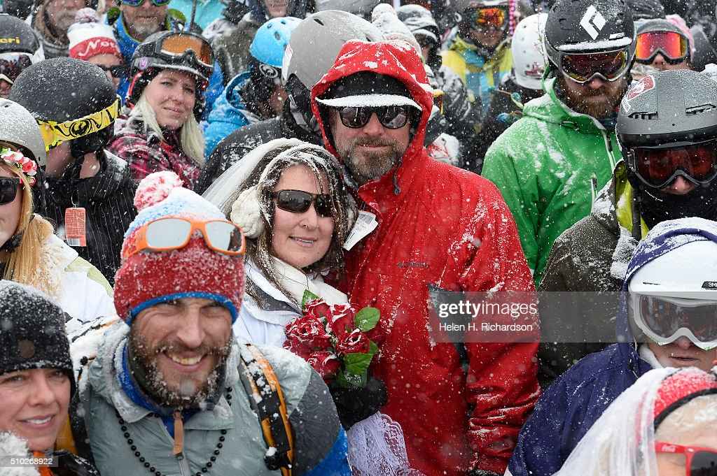 Over 100 couples gathered at the Ptarmigan Roost cabin atop Loveland Ski area to get married or renew their vows during the 25th annual Mountaintop Matrimony Valentine's day wedding ceremony on February 14, 2016 at the Loveland Ski area near Georgetown, Colorado. The ceremony was held at Ptarmigan Roost cabin at the top of Ptarmigan lift. The couples got married or renewed their vows with minister Harry Heilmann, of the Universal Life Church, overseeing the ceremony.