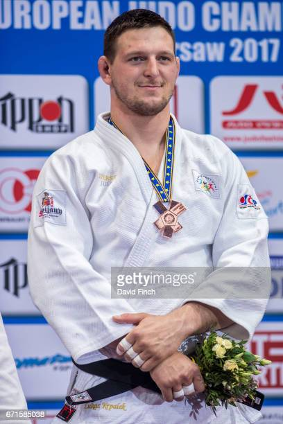 Over 100kg bronze medallist Lukas Krpalek of the Czech Republic during the 2017 Warsaw European Judo Championships at the Torwar Arena on April 22 in...