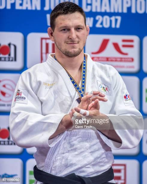 Over 100kg bronze medallist Lukas Krpalek of the Czech Republic during the 2017 Warsaw European Judo Championships at the Torwar Arena Warsaw Poland...