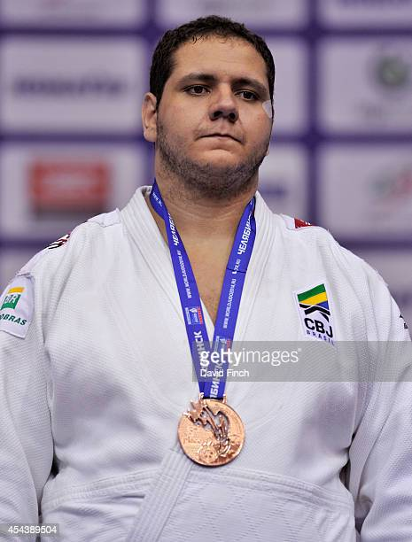 1 Over 100kg bronze medallist Rafael Silva of Brazil stands on the podium during the Chelyabinsk Judo World Championships at the Sport Arena...