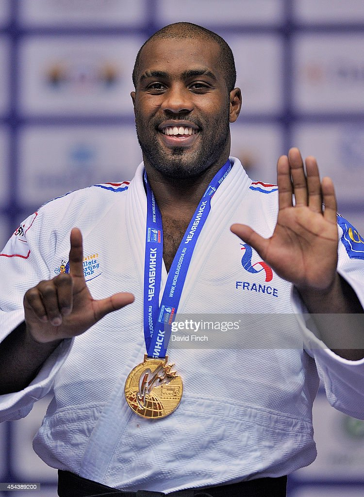 Over 100kg gold medallist, <a gi-track='captionPersonalityLinkClicked' href=/galleries/search?phrase=Teddy+Riner&family=editorial&specificpeople=4114927 ng-click='$event.stopPropagation()'>Teddy Riner</a> of France uses his fingers to say that today he won his seventh World gold medal during the Chelyabinsk Judo World Championships at the Sport Arena 'Traktor' on August 30, 2014 in Chelyabinsk, Russia.