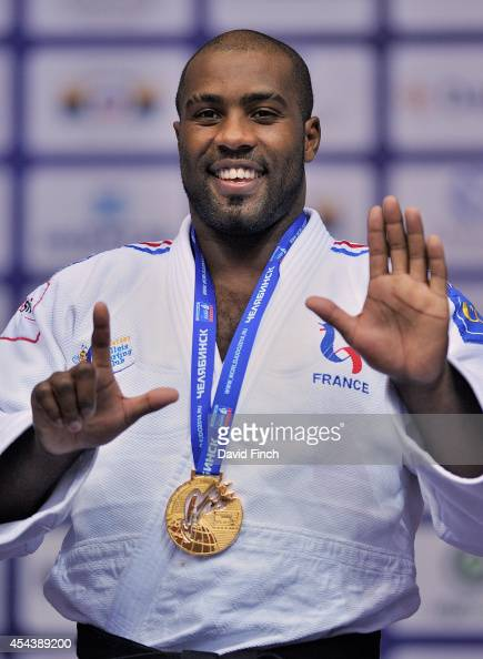 1 Over 100kg gold medallist Teddy Riner of France uses his fingers to say that today he won his seventh World gold medal during the Chelyabinsk Judo...