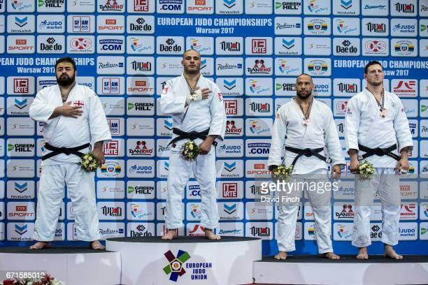 Over 100kg medallists LR Silver Adam Okruashvili Gold Guram Tushishvili Bronzes Roy Meyer and Lukas Krpalek during the 2017 Warsaw European Judo...