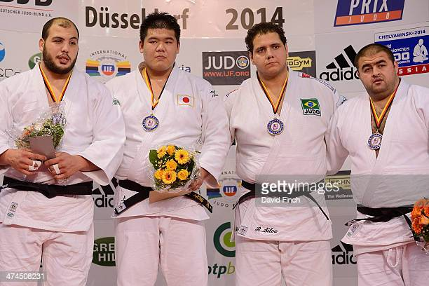 Over 100kg medallists LR Silver Faicel Jaballah TUN Gold Daiki Kamikawa JPN Bronze Rafael Silva BRA and Adam Okruashvili GEO during the Dusseldorf...