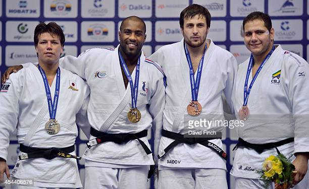 Over 100kg medallists LR Silver Ryu Shichinohe of Japan Gold Teddy Riner of France Bronzes Renat Saidov of Russia and Rafael Silva of Cuba during the...