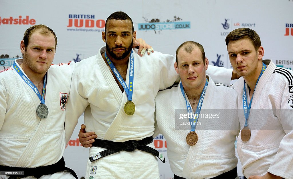 Silver: Daniel Allerstorfer (Austria), Gold: Roy Meyer (Netherlands), Bronzes: Chris Sherrington (Great Britain) and Kamil Grabowski (Poland)during day 2 of the London British Open Judo Championships at the K2 on May 12, 2013 in Crawley, United Kingdom.