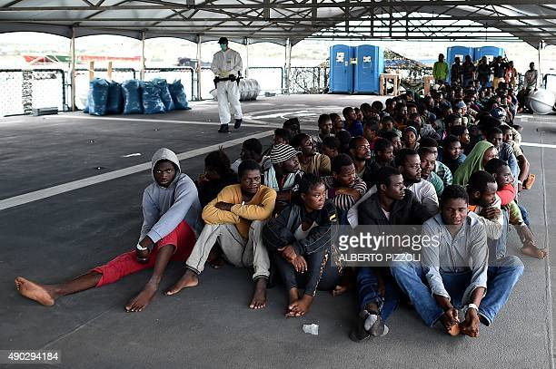 Over 140 migrants and refugees mainly from Nigeria Ghana Senegal and Sierra Leone who were transported by the German navy frigate Werra as part of...