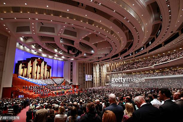 Over 20000 members of the Church of Jesus Christ of LatterDay Saints sing with the Mormon Tabernacle Choir at the start of 185th Semiannual General...