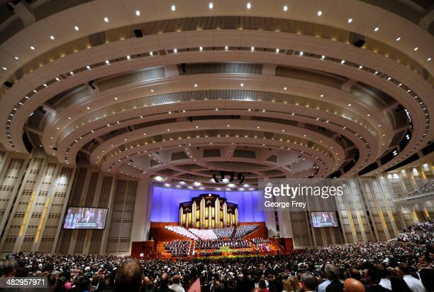Over 20000 Mormons gather in the Conference Center for the second session of the 184th annual general conference of The Church of Jesus Christ of...
