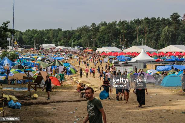 Over 200000 people takes part in one of the largest in Europe openair music festival in Kostrzyn Nad Odra Poland on 4 August 2017