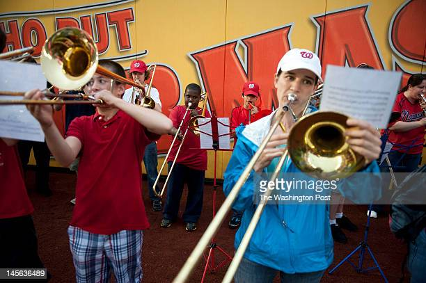 Over 300 trombonists perform 76 Trombones on the Washington Nationals baseball field in Washington DC on June 01 2012 Inspired by the signature song...
